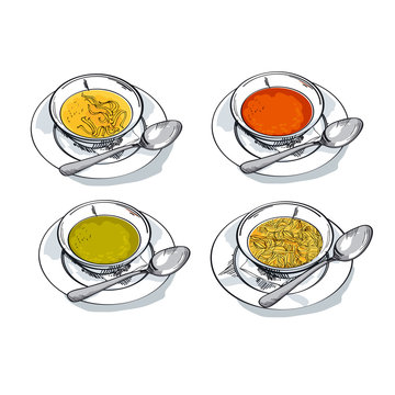 vegetable soup sketch vector illustration. traditional meal bowl