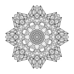 Black and white abstract circular ethnic pattern mandala.