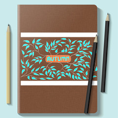Notebook mock up with autumn pattern on a blue background. Vector Illustration