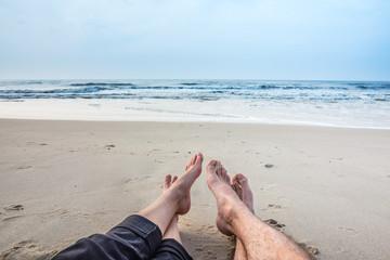 Wall Mural - Füße im Sand, Urlaub an der Nordsee