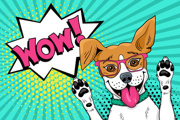 Wow pop art dog. Funny surprised dog in glasses with open mouth rising his paws up. Vector illustration in retro comic style. Vector pop art background.