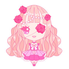 Pink chibi lolita character
