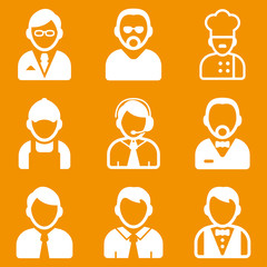 People occupations icons on an orange background. Vector illustration