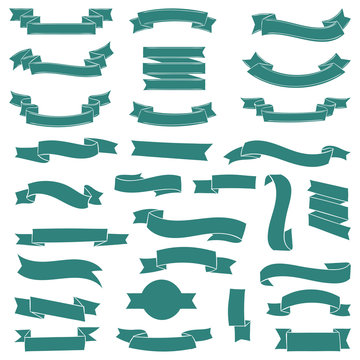 Big set of banners ribbons scrolls. Vector illustration