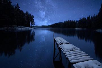 Jetty and lake at night