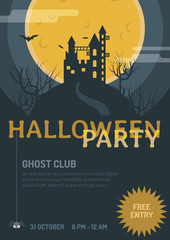 Halloween Trick or Treat. Flat vector illustration for making Poster, Banner, Invitation and Background.