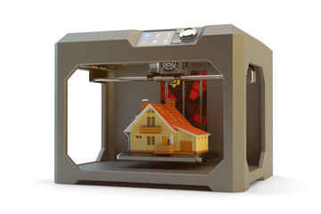 Modern engineering, prototyping, creating objects and printing technology concept, black plastic 3d printer machine making realistic house model, isolated on white