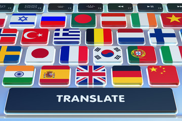 Languages translation concept, online translator, close-up view of computer keyboard with national flags of world countries on keys and translate button