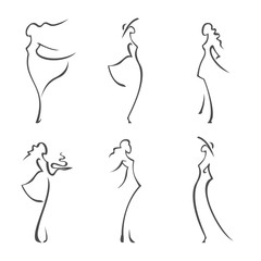Set of beautiful women silhouettes. / vector illustration. Set of different female silhouettes.