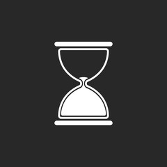 Hourglass symbol simple icon on background