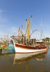 Shrimp boats at the German North Sea coast