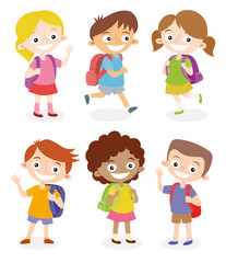 Happy children going to school with their backpacks