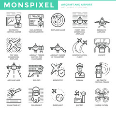 Flat thin line Icons set of Aircraft and Airport. Pixel Perfect Icons. Simple mono linear pictogram pack stroke vector logo concept for web graphics.