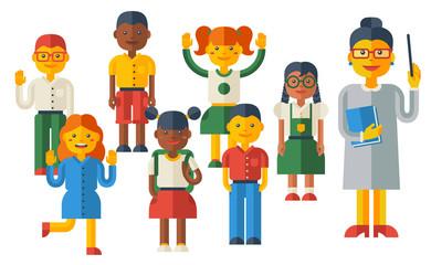 Cute Kids and Female Teacher Characters