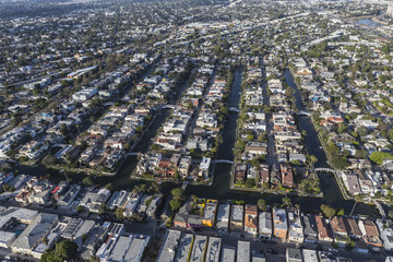 Venice California Canal Streets Aerial