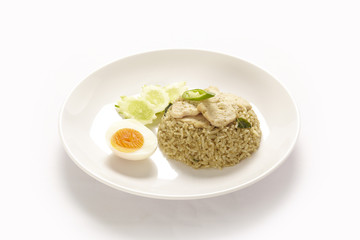 Asian green curry fried rice on white