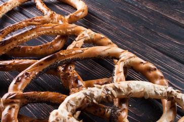 Fresh pretzel on the boards.