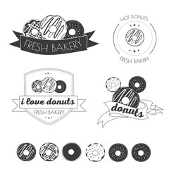 Vector set of logos donuts , coffee , snack , menu