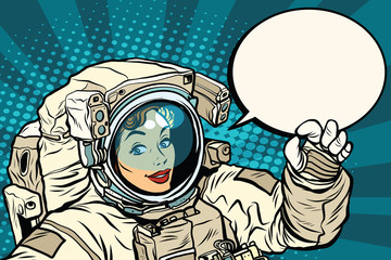 OK gesture female astronaut in a spacesuit