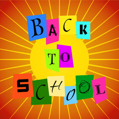 Vector Back To School from Color Paper over Orange Rays