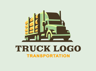 Truck logo illustration, transportation of wood