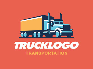 Truck logo illustration on dark background.