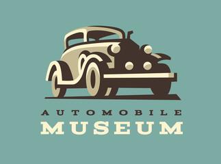 Retro car logo illustration, classic style