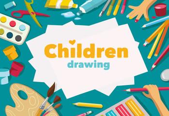 Children drawing white list background, banner