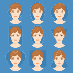 Set of different woman face shapes. 4