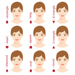 Set of different woman face shapes. 5