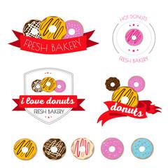 Vector set of logos donuts , coffee , snack , menu