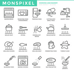 Flat thin line Icons set of Cooking and Bakery. Pixel Perfect Icons. Simple mono linear pictogram pack stroke vector logo concept for web graphics.