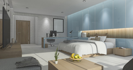 3d rendering blue nice bedroom with comfortable furniture and some decor