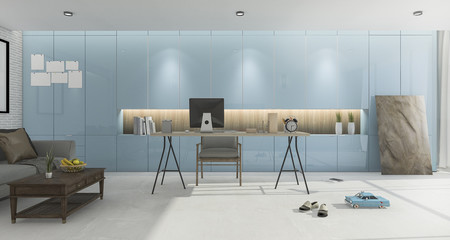 3d rendering blue vintage working room with nice furniture and decor
