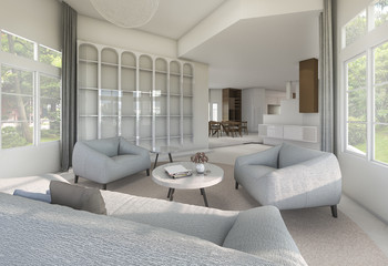 3d rendering vintage armchair in luxury room with daylight