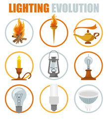 Lighting elements icon set. Evolution of light