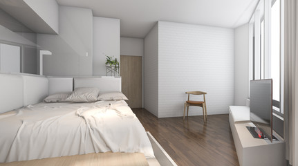 3d rendering nice daylight in wood bedroom with minimal decor