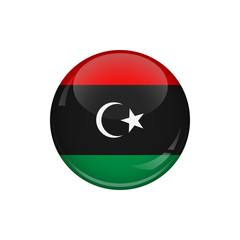 Flag of Libya. A round button with a glare. Round Flag emblem.