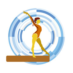 Balance Beam. Silhouette of a gymnast woman on a circular background.