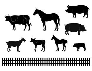 Vector farm animals silhouettes isolated on white. Livestock and poultry icons. Rural landscape with trees, plants,