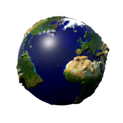 stylized Earth with embossed surface showing Africa, Europe, North America and South America (3d illustration isolated on white background, elements of this image are furnished by NASA)
