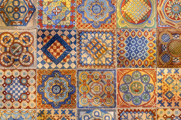 Asian tiles with traditional patterns