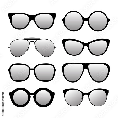 """Different forms fashionable sunglasses. Types sunglasses ..."