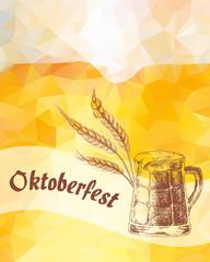 Oktoberfest vector illustration. Beer mug and dried cereal ears.
