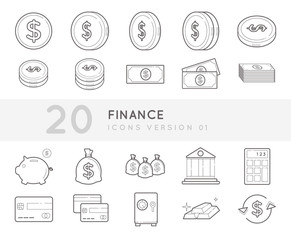 Flat thin line Icons set of Finance and Money. Simple mono linear pictogram pack stroke vector logo concept for web graphics.