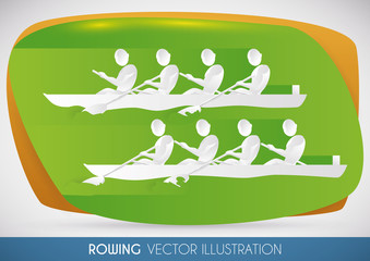 Rowing Team Racing in Sports Event, Vector Illustration