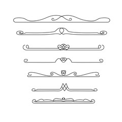 Vintage vector line elements. Set of calligraphic decorative dividers