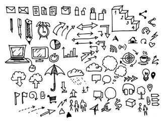 Business doodles sketch vector ink.