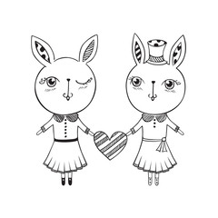 Hand drawn cute rabbits with heart. Vector.