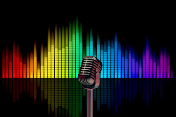 3d illustration studio microphone on a background of colored